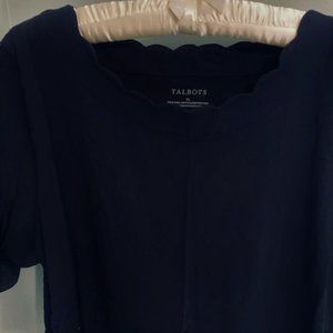 Talbots Black Scallop Tee